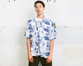Vintage 90s Men Shirt . Men's Short Sleeve Abstract Print Shirt Patterned 90s Shirt Vacation Shirt Boyfriend Gift . size Extra Large XL