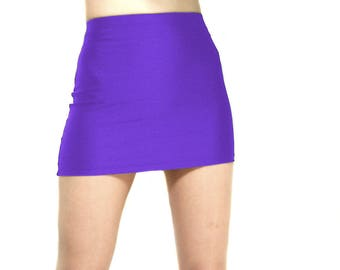 High waisted purple spandex mini skirt
