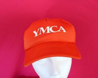 Vintage YMCA Orange Snapback Mesh Trucker Cap. Vintage Trucker Cap. YMCA 80s Baseball Cap. Bright Orange Hipster Snapback. Retro 80s Hat