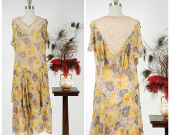 Vintage 1930s Dress - Summer 2018 Lookbook - Gorgeous Late 20s/Early 30s Tiered Silk Chiffon Summer Dress in Sunshine Yellow and Grey Floral