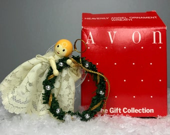 vintage heavenly angel ornament with wreath by Avon in original gift box