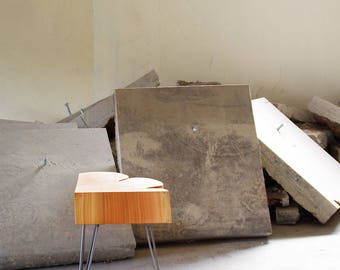 live edge table - nimbus cloud mini table - natural edge with midcentury modern hairpin legs - urban wood salvage - rain cloud fragment