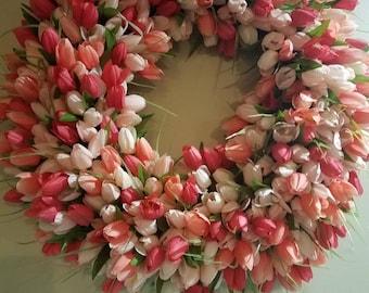 Tulip wreath, spring wreath, wreath, Easter wreath, tulip spring wreath, summer wreath, front door wreath, Easter wreath
