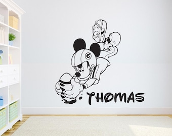 Mickey Mouse Custom Name Wall Decal Personalized Sticker Art Disney Decorations For Home Teen Kids Boys Room Bedroom Nursery Decor