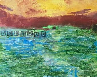 """10 X 10 inch Abstract Art on Gessobord, """"Believe, All Things are Possible"""", Sunset over Water"""