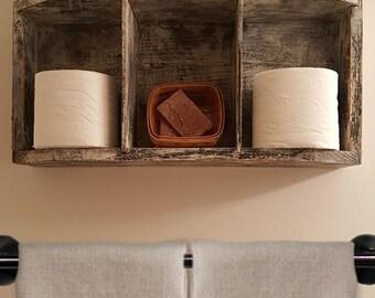 Rustic Barn Shelf - Rustic Wall Decor - Rustic Shelf for Bathroom - Reclaimed Wood Shelf - Rustic Organizer