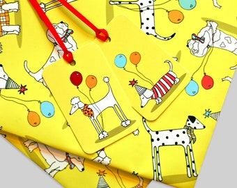 Dog Wrapping Paper and Gift Tags -  Gift Wrap - Dog Gift Tags - Gifts for Children - Gifts for Dog Lovers - Gifts for Her