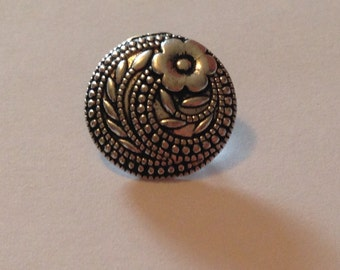 Bronze Coloured Metal Shank Back Button With Embossed Flower, pack of 10.