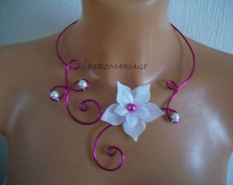 Necklace fuchsia pink transparent glass beads white silk flower bridal wedding party evening ceremony