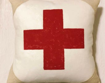 18x18 Wool and Grainsack Pillow - Swiss Cross