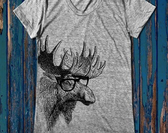Funny Moose graphic print  Women's round neck T-shirts