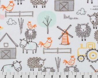 END OF BOLT!!  1 3/4 Yard - E-I-E-I-O Cuddle Minky Fabric - E-I-E-I-O Minky - Animals Minky - Shannon Fabrics - Minky Fabrics - Cuddle Minky