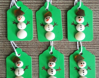 Beach Glass and Shell Christmas Snowmen Gift Tags - Set of 8