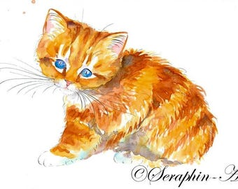 Ginger Cat Original Watercolor Painting