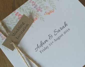 Rustic / Shabby chic Wedding Invitation SAMPLE, Whimsical design, Modern, Tri fold,