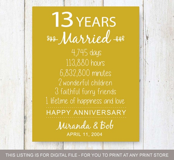 Gift For 13th Wedding Anniversary: 13th Anniversary Gift 13 Years Of Wedding Anniversary