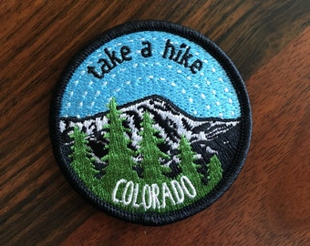 Take A Hike Colorado - round embroidered iron-on patch featuring Mt. Elbert
