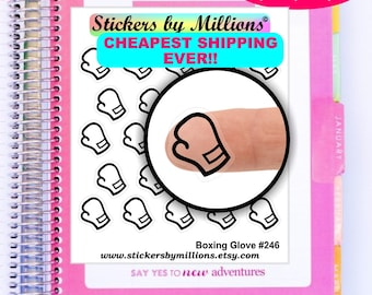 Clear Planner Stickers, Boxing Stickers, Boxing Glove Stickers, Erin Condren Planner Stickers, Transparent Stickers, Filofax, Functional
