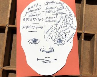 letterpress phrenology head card
