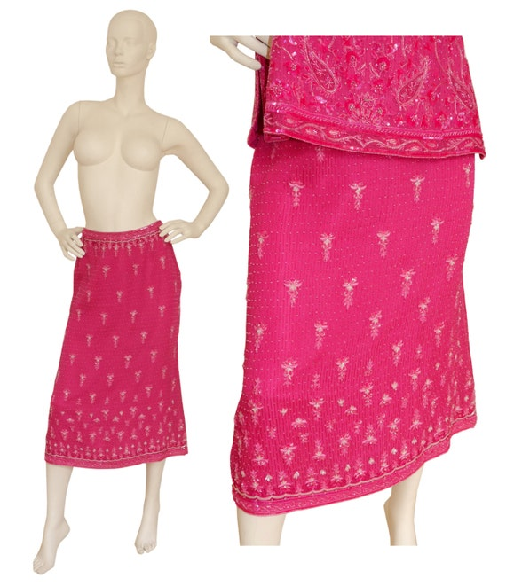 Size 1990s Beaded Silk ESCADA Evening Top Indian Skirt Gown Dresss 6 Sequined Small 1980s Ensemble US Pink Set 100 Vintage amp; wUwq1S