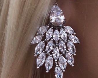 Cubic Zirconia Crystal Cluster Earrings