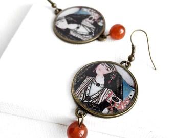 MAHDOKHT earrings- Persian Safavid -Persian tile design Earrings - Persian jewelry- Oriental - Persian miniature painting -