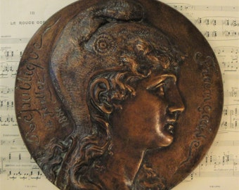 Rare Large Antique French Bronze Plaque Marianne Republique Francaise c1880