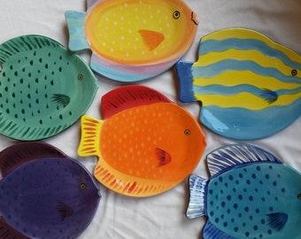 Fish shape plates colorful tropical fish plates bright colors purple fish blue fish plate nature sea life fish dishes orange fish plate gift
