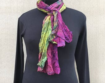 Hand Dyed Silk Scarf/ Crinkle Silk Scarf Shawl/ Lightweight Red~Violet Yellow~Green Silk Scarf/ Year Round Scarf/ Adds a Splash of Color!
