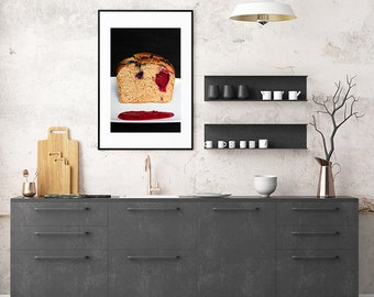 Berries and chocolate bread, raspberry heart, food photography, cake print, kitchen print, kitchen decor, dining room art, home decor