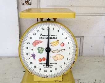 Vintage Farmhouse Scale Yellow Metal American Family Scale