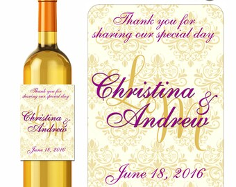 Damask Wine Labels Personalized Stickers Wedding Monogram Formal Gold and Plum - Waterproof Vinyl 3.5 x 5 inch