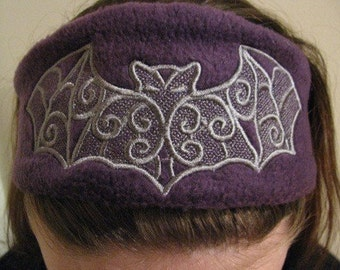 Purple and Heather Gray Batty Headband