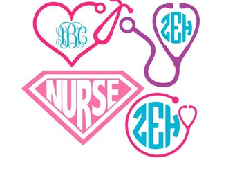 Nurse Svg, Nurse Svg Files, Stethoscope Svg, Nurse Monogram Svg, Cricut Svg, Silhouette Files