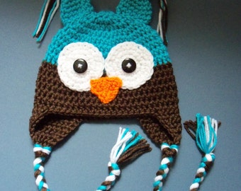 Owl Hat, Baby Boy Hat, Blue Owl Hat - Made To Order