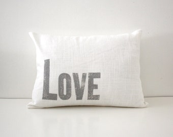 Silver and White Letterpress Pillow Love Pillow Metallic Love Pillow Nursery Pillow Block printed pillow Hand printed love pillow