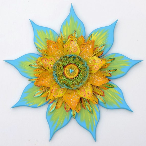 Large Outdoor Bohemian Style Flower Sculpture Wall Decor
