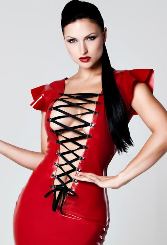 sexy front lace up latex rubber mini dress in red or black