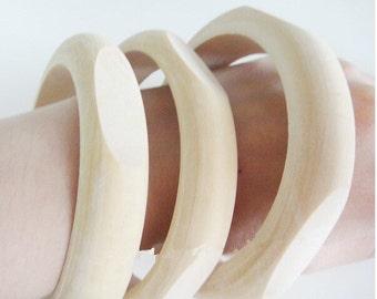 Wooden Bangles Vintage Unfinished One Piece Bracelet 1.8 cm