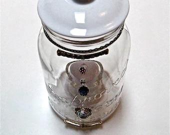 Minimaliste Mason Jar, réorientés Mason Jar, des Accents de maison de verre, blanc Home Decor, bocal en guirlande lumineuse, décorée de Mason Jar, Jar de boule de coton