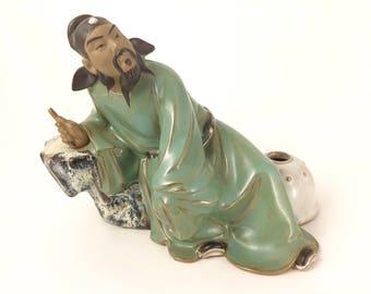 She Wan Mud Figure Man Sitting Near  a Jar - Very Detailed!