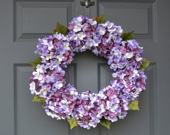 Blended Hydrangea Wreath | Front Door Wreaths | Spring Wreaths | Door Wreath | Purple Wreath | Housewarming Gift