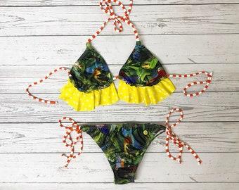 Birds print bikini