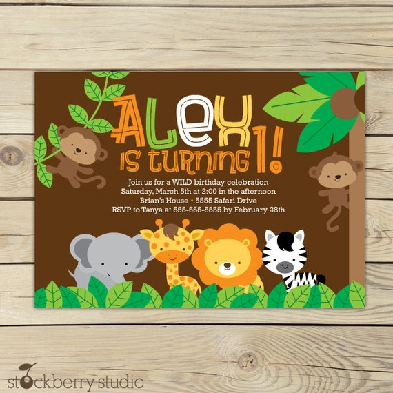Safari jungle birthday invitation printable jungle animals like this item stopboris Choice Image