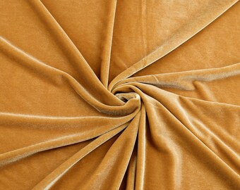 Grace GOLD Stretch Velvet Fabric by the Yard, Half Yard, Bolt and Wholesale - SKU 5000