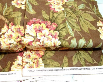 Mia Home Decor Fabric by Kingswood Fabrics, Pink and Brown Floral