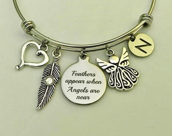 Memorial jewelry, Angel wing charm, Memorial Bangle, Feathers appear when angels are near, loss of a loved one, Mom Dad Memorial Remembrance