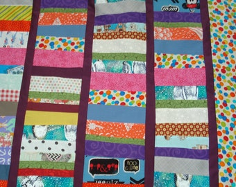 quilt top, eye spy, I spy, upcycled, handmade, patchwork, sewing, crafting. toddler, lap robe, colorful, 34 by 50, boy, girl, cotton fabric