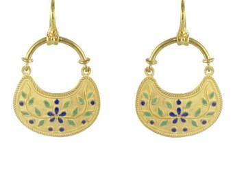 Earrings vermeil enamel Vermeil Antique