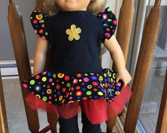 "Ruffled tunic top for 18""doll such as American girl"